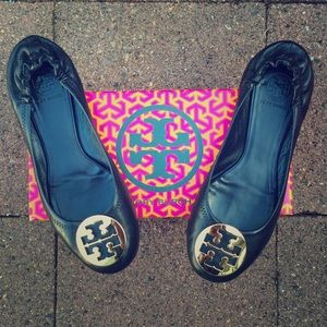 Tory Burch Shoes - Black with Gold Medallion Tory Burch Reva Flats