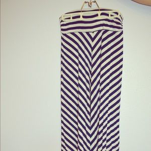 Blue and White Striped Maxi Skirt