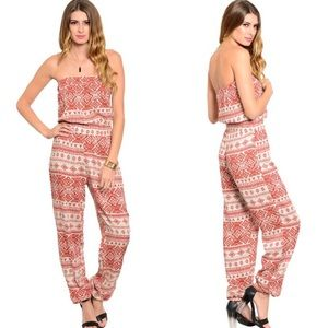 Boutique Pants - 🎉CLEARANCE🎉 Strapless Ivory Rust Tribal Jumpsuit