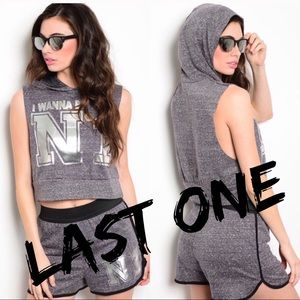 🎉CLEARANCE🎉Charcoal Active Shorts Hooded Top Set
