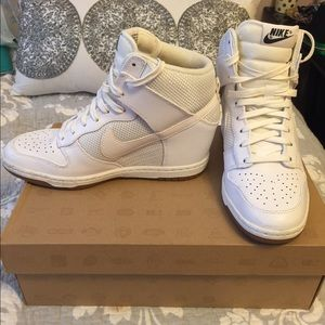 Nike Shoes - Nike All White Dunk Wedge Sneakers
