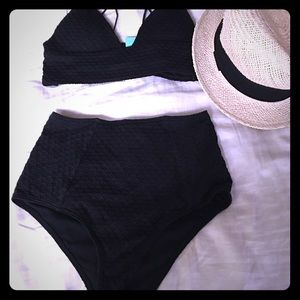 High waist black textured bikini