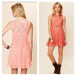 Free people miles of lace sleeveless mini dress