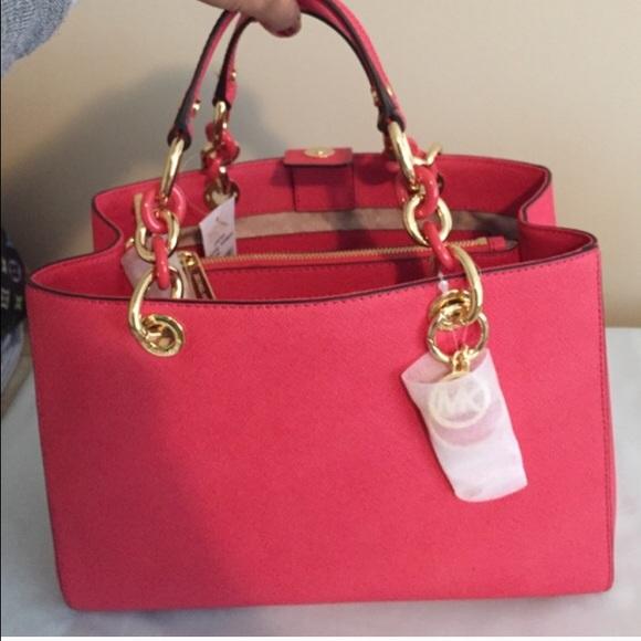 d568634dce73 100% Authentic Michael Kors Cynthia Watermelon Bag