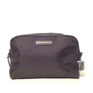 🆕MK Cosmetic HandbagPouch Black Faux Leather Trim