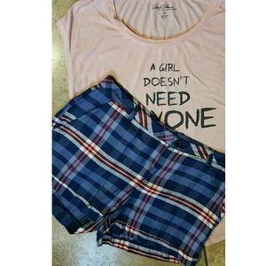 MNG by Mango Blue Plaid Shorts NWOT!