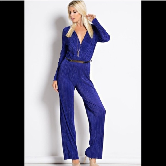 9418ee4d5343 (Tall)Royal Blue Belted Jumpsuit💞