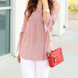 Red and White Off The Shoulder Top