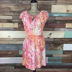 Talbots Dresses & Skirts - Talbots Orange and Pink Floral Silk Dress
