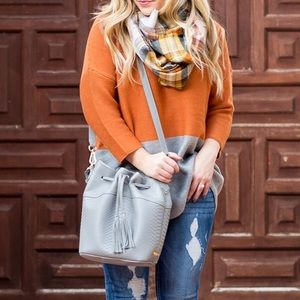 Sweaters - Oversized Orange + Grey Two-Toned Sweater