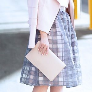Little Mistress Dresses & Skirts - Blush + Grey Gingham Organza Midi Skirt