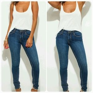 Favorite Dark Blue Mid Rise Dark Wash Skinny Jeans
