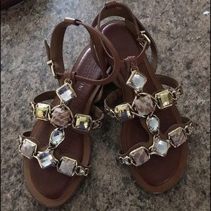 Gianni Bini Tan Leather Stone Beaded Sandals