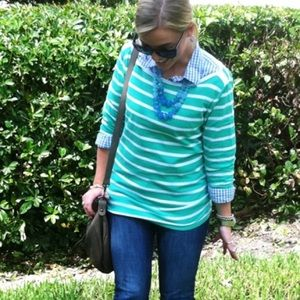 J. Crew Tops - FINAL REDUCTION❗️Aqua Stripe Long Sleeve Shirt