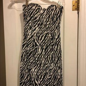 NWT Black & White Zebra Print Strapless Dress