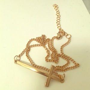 Jewelry - Gold cross azura necklace