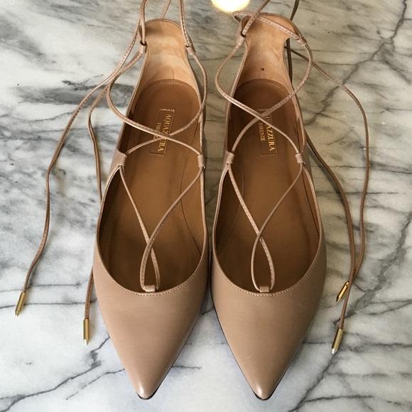 Aquazurra Shoes - Aquazurra Christy Flats in Nude Biscotti size 36