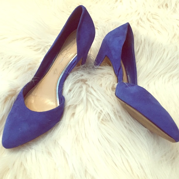 46% off Jessica Simpson Shoes - Jessica Simoson blue suede kitten ...