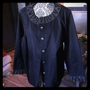 Quacker Factory Black Bling Jacket