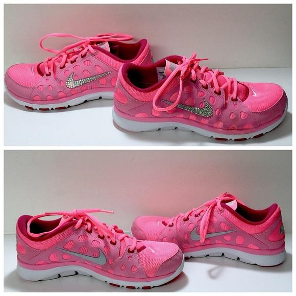Custom Blinged Pink Nike Flex Supreme TR Trainers.  M 57793a4941b4e09a60004def 1d9000a007c8