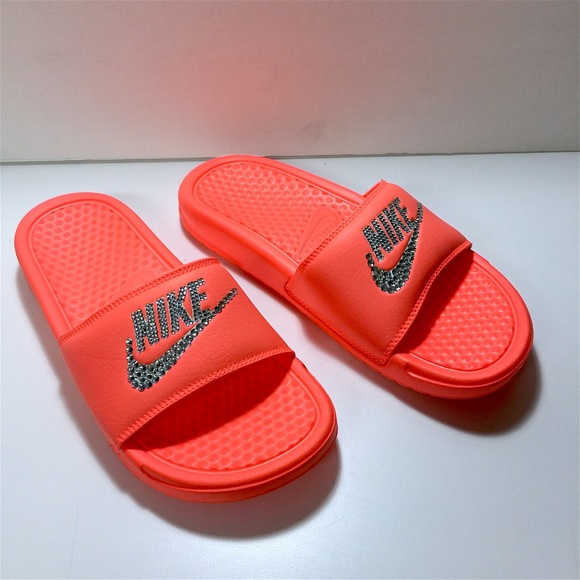 c7aae65f7585f Custom Blinged Mango Color Nike Benassi Slides NWT