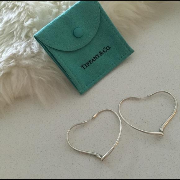 344514890 Tiffany & Co. Jewelry   Elsa Peretti Tiffany Open Heart Lg Hoop ...