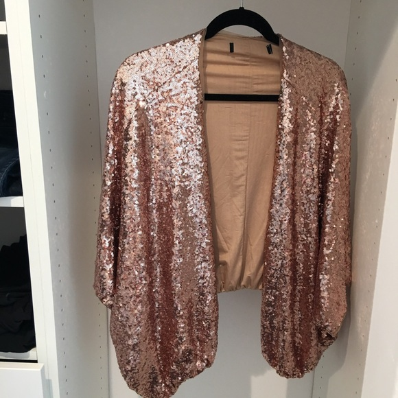 56% off Forever 21 Sweaters - Rose Gold Sequin Cardigan from ...