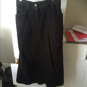 Black corduroy A line skirt