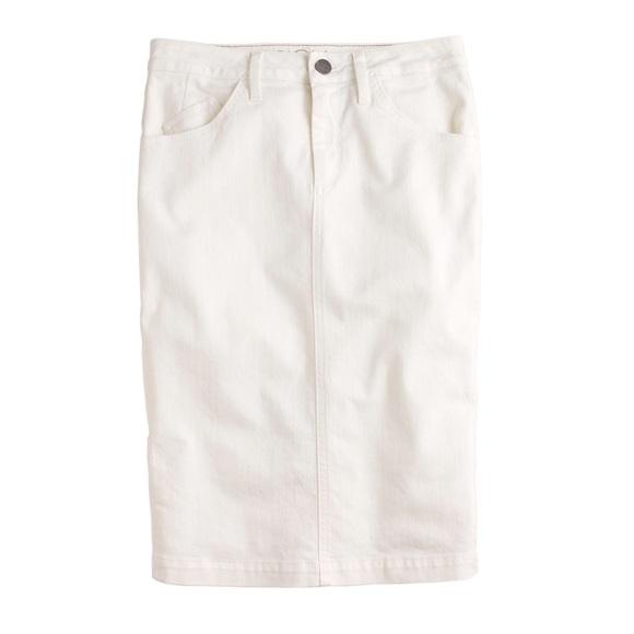 87% off J. Crew Dresses & Skirts - Ecru Denim Pencil Skirt ...