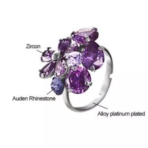 Platinum Purple Flower Adj Ring Nickel Free