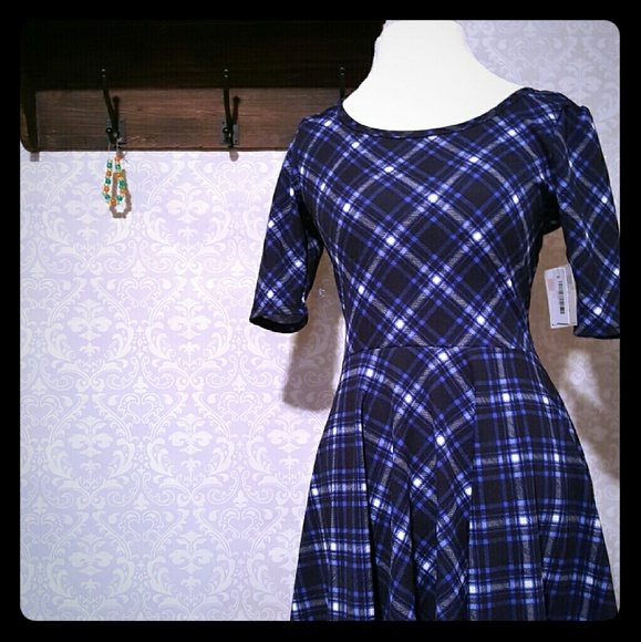 f61be7011031c LuLaRoe Dresses | Nicole Blue Plaid Dress | Poshmark