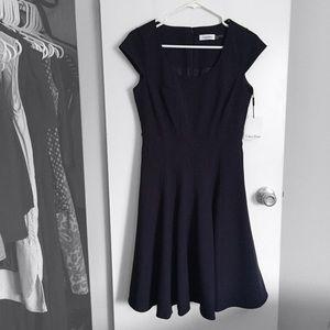 Calvin Klein Seamed, Scoop Neck, Fit & Flare Dress