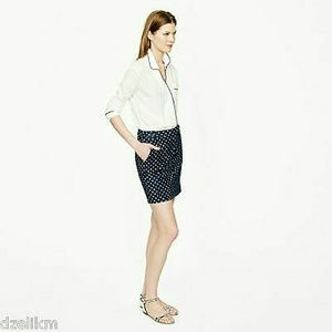 J CREW denim skirt with white polka dots!!