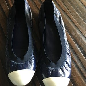 Auth Chanel patent leather ballet flats Sz 36 1/2