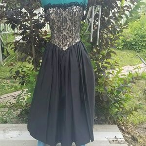 Vintage formal black lace dress