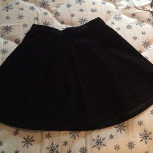 Black corduroy skater skirt