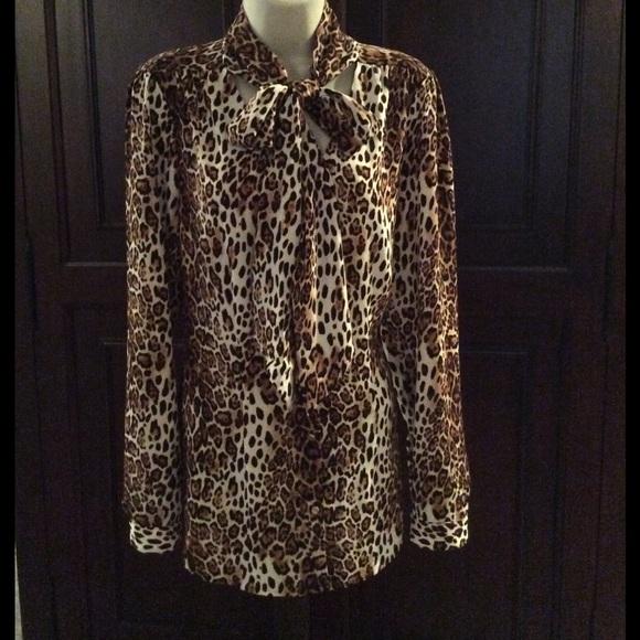 3c41c89c White House Black Market Tops | Whbm Leopard Print Tiefront ...