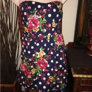 Torrid plus size polka dot/floral strapless dress