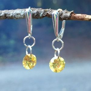 Jewelry - Handcrafted Sparkly topaz CZ earrings sterling #69