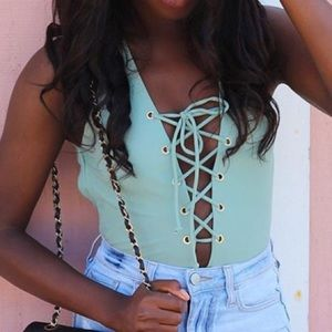 Tobi Other - Sage Lace Up Swimsuit