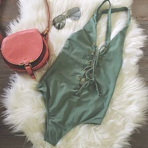 Sage Lace Up Swimsuit