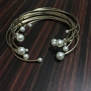 Gold Bangles with Pearls on the End!