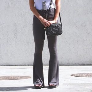 Tobi Pants - Gray Lace Up Bell Bottoms
