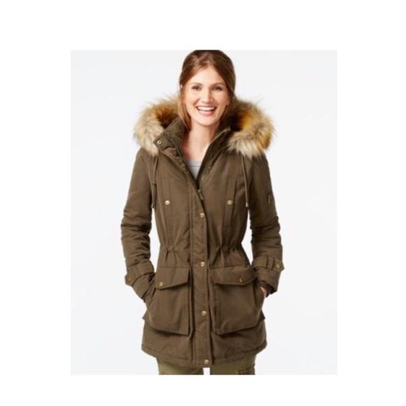 73% off DKNY Jackets & Blazers - DKNY Faux Fur Trim Hooded Parka M ...