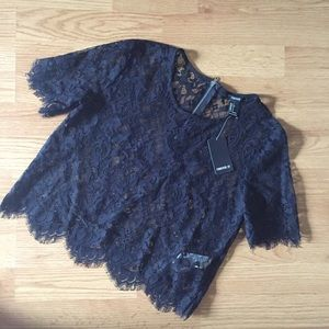Forever 21 Tops - Black Lace Crop Top