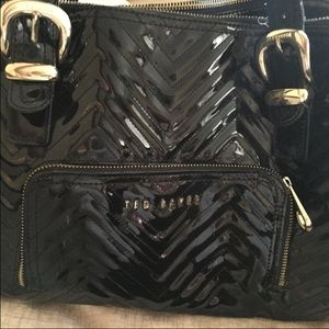 Ted baker shoulder bag black patent leather