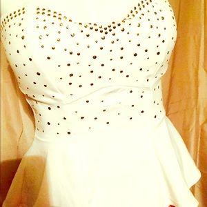 Tops - White studded peplum tube top women's size M