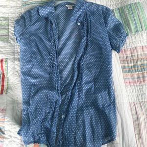 American eagle blue and white polka dot button up