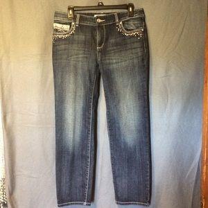 Chico's Platinum Denim Jeweled Jeans