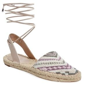 NEW Beaded Leather Ankle Wrap Espadrille Slingback